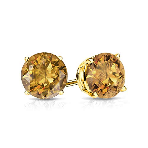 9mm Citrine Stud Earrings in 14k Yellow Gold (4 CT.TW.)