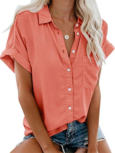 Beautife Womens Short Sleeve Shirts V Neck Collared Button Down Shirt Tops with Pockets Tangerine