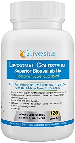 Livestus Laboratories Liposomal Colostrum (120 Vegetarian Capsules) with Superior Bioavailability to Heal Leaky Gut and Boost Immune System Made in USA from USDA Grass Fed Bovine Colostrum ()