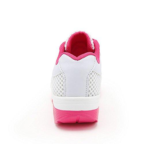 EnllerviiD Women Lace Up Lightweight Mesh Fitness Shoes Shape Up Platform Fashion Sneakers 1317 White BLnTmt