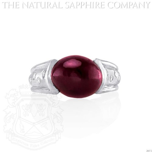 14K White Gold, Cabochon Ruby and Diamond Ring. ()