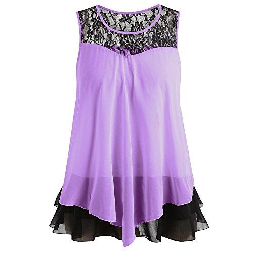 Fashion Womens Lace Ruffles O-Neck Sleeveless Chiffon Tank Tops Blouse Vest