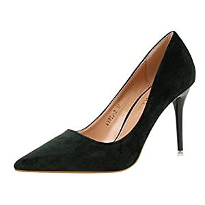 T&Mates Womens Pointy Toe High Heels Slip On Stilettos Wedding Party Evening Suede Pumps Shoes (8 B(M)US,Green)