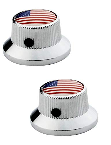 Saucer Knob - Guyker 2Pcs Guitar Control Knobs with Wrench for 6mm Dia. Shaft Pots - Flying Saucer Shaped Knob with National Flag Top Replacement for Electric Guitar or Bass (Chrome)