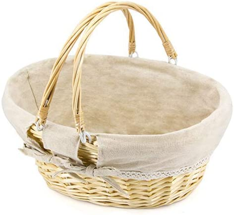 Baby Gift Hamper Nursery Storage Basket Natural Wicker Basket Purple Lining