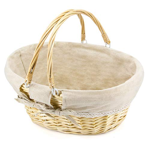Durior Wicker Basket Woven Picnic Basket Empty Oval Willow Large Storage Basket with Double Handles Fruit Serving Baskets Easter Basket 15.5