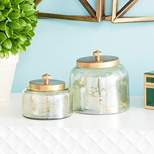 CosmoLiving by Cosmopolitan 94968 Small, Round, Decorative Gold Smoked Glass Jars with Bronze Metal Lids   Set of 2: 5