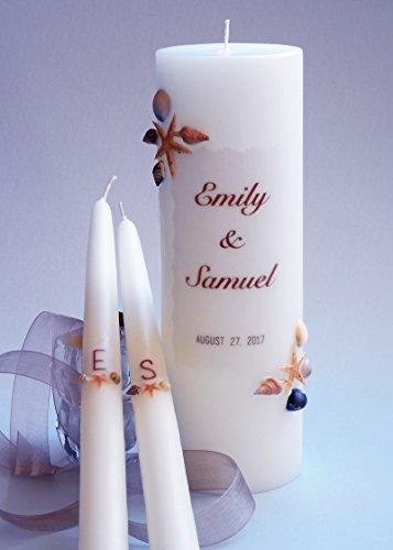 (Sea Shell Wedding Unity Candles - 2 Corner)