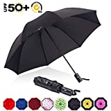 ABCCANOPY Umbrella Compact Rain&Wind Teflon Repellent Umbrellas Sun Protection with Black Glue Anti UV Coating Travel Auto Folding Umbrella, Blocking UV 99.98% (Black): more info