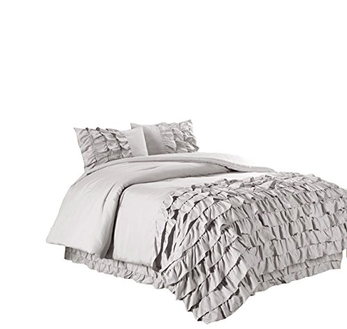 Chezmoi Collection Ella 3-Piece Waterfall Ruffle Duvet Cover Set (King, Gray)