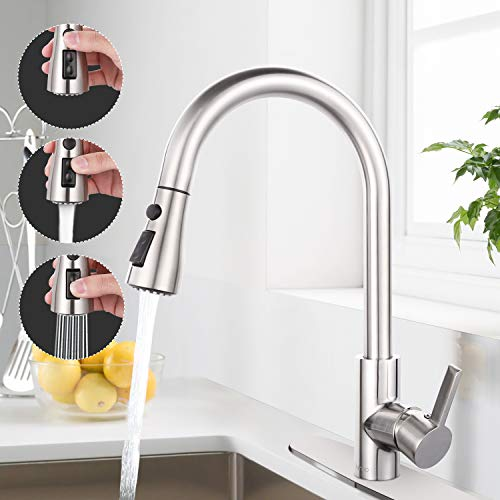 Cheapest Price! Sink Faucet, Dalmo Single Handle High Arc Brushed Nickel Pull out Kitchen Faucet wit...