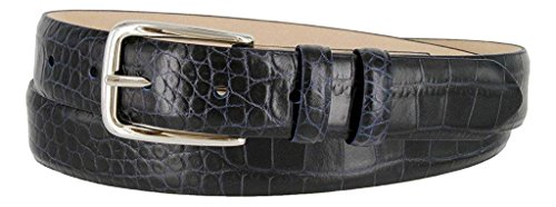 Hagora Women Genuine Italian Calfskin Embossed Smooth Silver Metal Buckle Belt,Alligator Navy 32