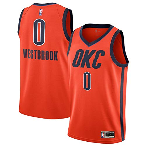 Outerstuff Youth 8-20 Russell Westbrook Oklahoma City Thunder #0 Player Jersey for Kids (Orange,Youth Large 14-16)