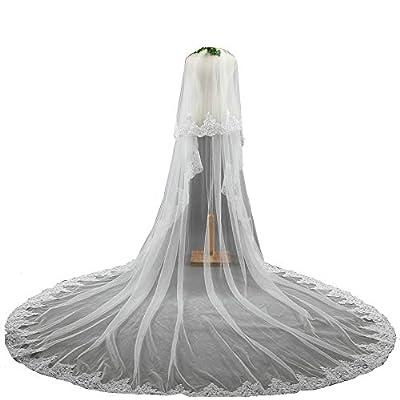 U-Hotmi 2 Tier long Wedding Veil Lace Edge Cathedral Bridal Wedding Veil with Metal Comb
