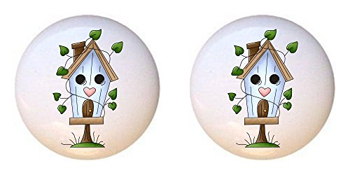 SET OF 2 KNOBS - BIRDHOUSE with LEAVES from An Ordinary Day Country Collection - DECORATIVE Glossy CERAMIC Cupboard Cabinet PULLS Dresser Drawer KNOBS ()