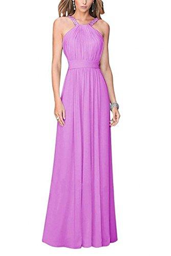 Flieder Promkleider Chiffon Bodenlang Charmant Partykleider Abendkleider Lang Linie Elegant Neckholder Damen A PRwqTOp