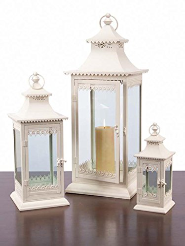 Set of 3 Decorative Cream Cottage-Style Pillar Candle Holder