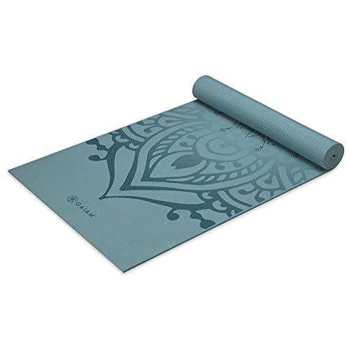 Gaiam Yoga Mat Premium Print Extra Thick Non Slip Exercise & Fitness Mat for All Types of Yoga, Pilates & Floor Exercises, Niagara, 6mm
