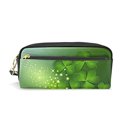 PU Leather Irish Spirit Lucky Green Happy St Patrick's Day Tiny Fairy Exotic Pen Pencil Case Bag Purse Pouch Cosmetic Bag Zipper for School Boy Girl Office Work (Patrick Happy San Day)