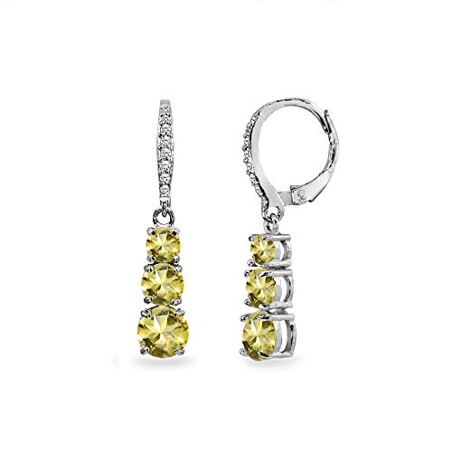 - Sterling Silver Citrine and Cubic Zirconia 3-Stone Journey Dangle Leverback Earrings for Women Teen Girls