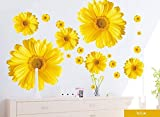 Uteruik Yellow Chrysanthemums Daisy Flowers Wall Sticker Decal Home Decor for Living Bed Room Study TV Wall, 9pcs