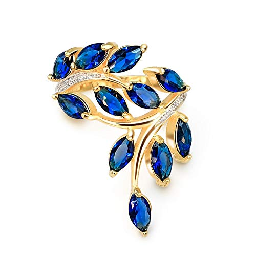 Sterling Silver CZ 18k Yellow Gold Plated Vine Leaf Statement Rings - 5
