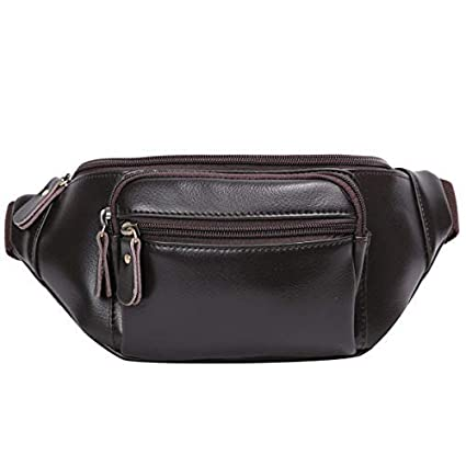 ab57b792ea Leathario Men s Leather Sling bag Chest bag One shoulder bag Crossbody Bag  Backpack for men (Brown-12)
