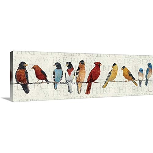 The Usual Suspects – Birds on a Wire Canvas Wall Art Print, 60 x20 x1.25
