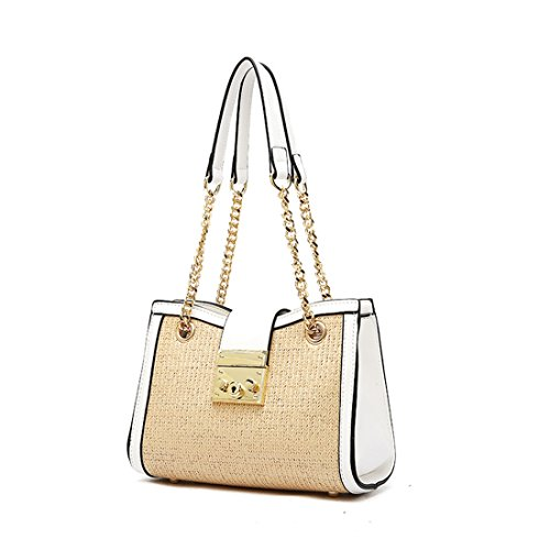 Sintético de mano Blanco Y Amarillo bolso MinottaUKD6072 de elegante Minotta Mujer qYZOn