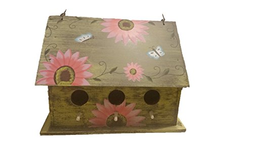 Sunflower Birdhouse - Wooden Birdhouses - WIDE Pink - Birdhouses For Outside - Birdhouses Decorative - Colorful Birdhouse - Chickadee Birdhouse - Finch Birdhouse - Wren Birdhouse - Painted Birdhouse