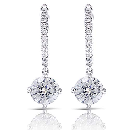 DovEggs Solid 14K White Gold Post 2ct Center 6.5mm H Color Heart Arrows Cut Moissanite Hoop Earrings with Accents Platinum Plated Silver for Women