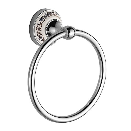 Crystal Polished Towel Ring (Stainless Steel Towel Ring - European Style Luxury Ceramic and Polished Towel Holder Round, Wall Mounted Towel Hanging for Bathroom Kitchen By)