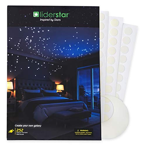 (Glow in The Dark Stars Wall Stickers,252 Adhesive Dots and Moon for Starry Sky, Decor for Kids Bedroom or Birthday Gift,Beautiful Wall Decals for Any Room by LIDERSTAR,Bright and)