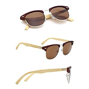 TIJN Wood Semi-Rimless Clubmaster Sunglasses Horn Rimmed Bamboo Frame for Men Women