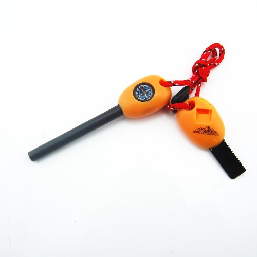 Fire Starter Multi Tool - Magnesium and Steel - Flint, Saw, Whistle, Compass, Ruler - Used for Campi