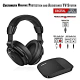 SIMOLIO Digital Wireless Headphones for TV, Hearing Protection Wireless TV Headphone W/Protein Earmuffs, Wireless TV Headset System for All TVs, TV Hearing Aid Device for Seniors and Hard of Hearing
