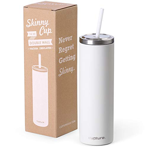 Cupture Stainless Steel Skinny Insulated Tumbler Cup with Lid and Reusable Straw - 16 oz (Winter White) -