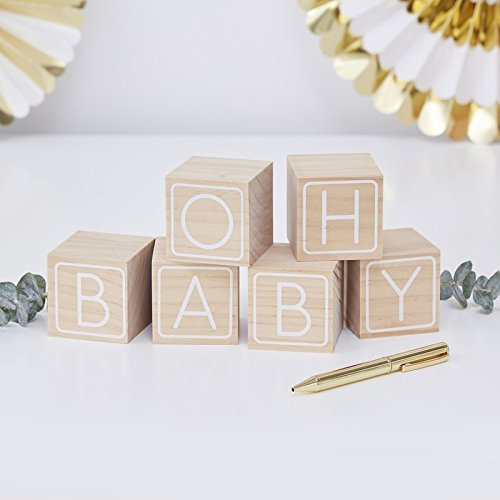 Baby Shower Games Baby Shower Ideas Oh Baby Pk 6 Write On Blocks]()