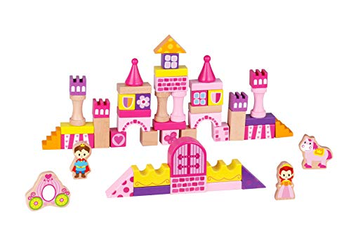 TOYSTER'S 50-Piece Wooden Princess Castle Building Blocks | BPA-Free Wood Game Set for Toddler Girls | Interactive STEM Educational Toy for Fine Motor Engineering Skills, Shape Sorting & - Princess Block