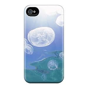 New Tpu Hard Case Premium Iphone 4/4s Skin Case Cover(jellyfish)