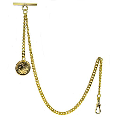 WATCHVSHOP Albert Chain Gold Tone Pocket Watch Chain Vest Chain for Men Fob T Bar with Swivel Clasp and Ancient France Coin Design Medal Charm Fob AC78A