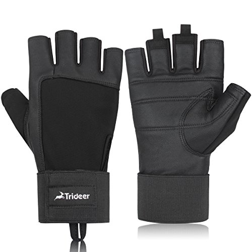 Trideer Genuine Leather Weight Lifting Gloves, Gym Glove with Adjustable Wrist Support, Light Microfiber for CrossTraining, Fitness, and Workout Men & Women (Black, XL)