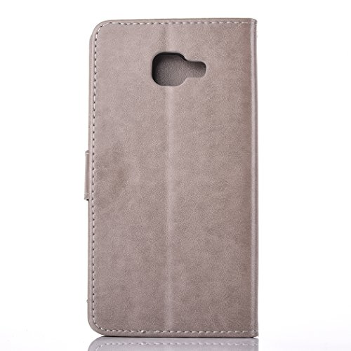 For Samsung Galaxy A7 2016 Case , Samsung Galaxy A7 2016 Cover - Cozy Hut Elegant Relief Dandelion Patterned Embossing PU Leather Case, Credit Card Holder, Cash Wallet, Built Stand, Magnetic Closure, Gray Dandelion