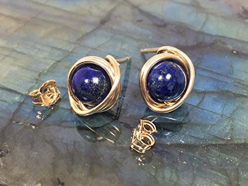 Lapis Lazuli Stud Earrings, 14K Gold Filled Wire And Backings, Blue stud