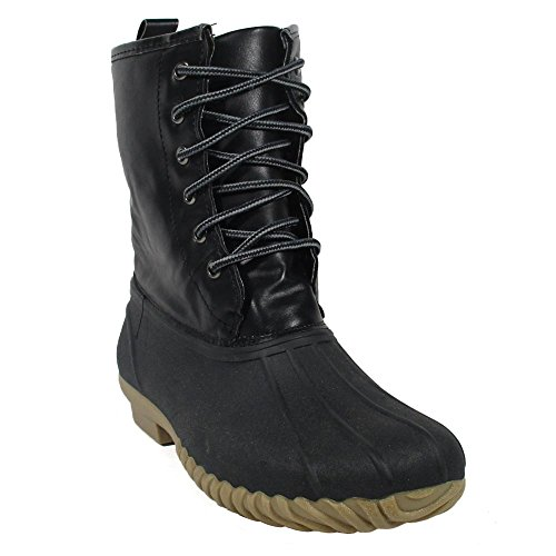 Women's Mid-Calf Snow Booties Shearling Fleece Sock Lined Water Resistant Duck Rubber Rain Boots HUEY ROCK 2 BLACK BLACK 8 (Cuff Shearling Boots)