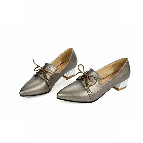 Show Shine Moda Mujer Zapatos De Tacón Grueso Con Punta Estrecha Oxfords Taupe