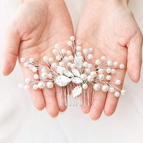 Unicra Pearl Wedding Hair Comb Crystal Bridal Hair Accessories for Brides and Bridesmaids (Silver)
