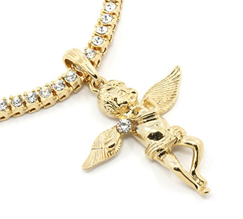 Gold Tone Angel Side Clear Stone Charm Pendant 1 row Clear CZ 1 4mm 24