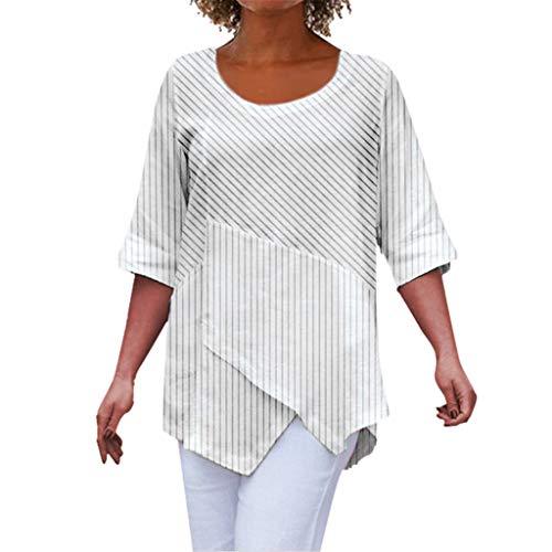 〓COOlCCI〓Women's Round Neck Solid Short Half Sleeve Asymmetric Hem Shirt Top Tunic Tops Casual Loose Blouse Shirt Summer White
