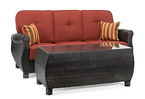 La-Z-Boy Outdoor Breckenridge Resin Wicker Patio Furniture Sofa with Pillows and Coffee Table Set (Brick Red) with All Weather Sunbrella Cushions (Bar Ohana)